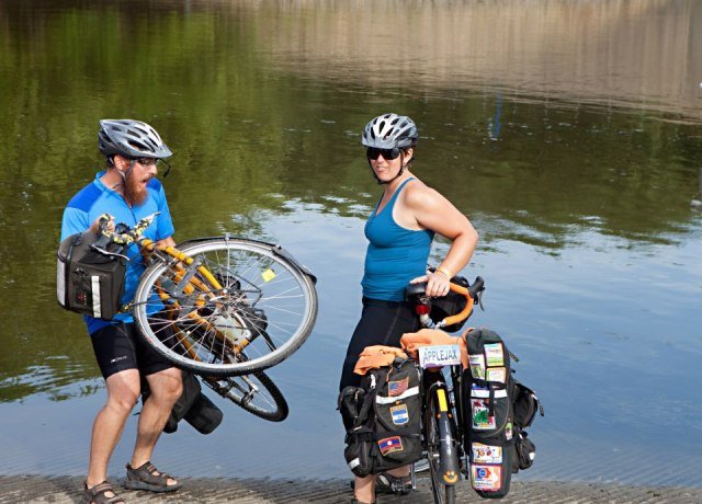Since we finished every grueling mile, Mike and I dipped our bike tires in the mighty Mississippi at the end of day 7