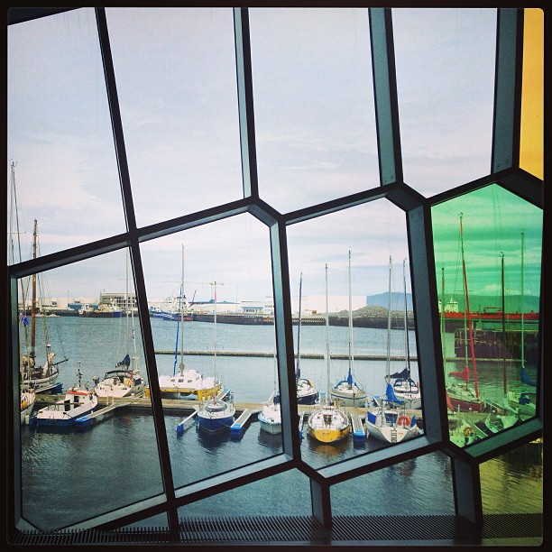The boat harbor through Harpa's windows